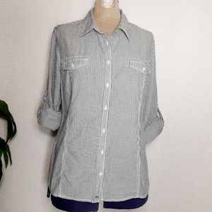 Tommy Hilfiger Button Down Striped Shirt Top Sz L